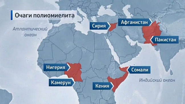 карта очагов полиомиелита